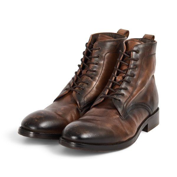 Hudson London Mens Cedar Leather Brown Lace Up Boot Three Quarter