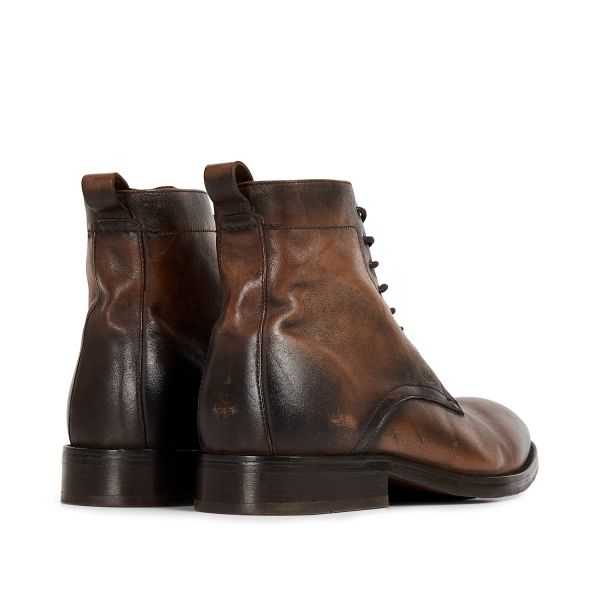 Hudson London Mens Cedar Leather Brown Lace Up Boot Detail