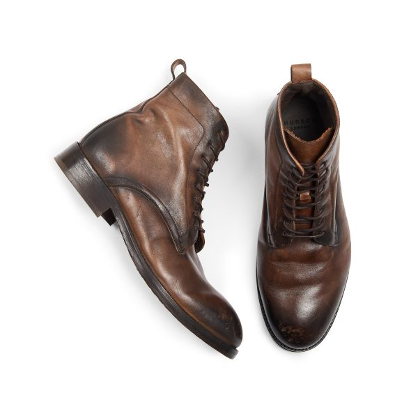 Hudson London Mens Cedar Leather Brown Lace Up Boot Top