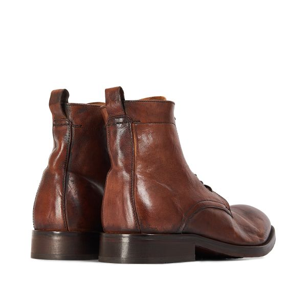 Hudson London Mens Cedar Leather Tan Lace Up Boot Detail