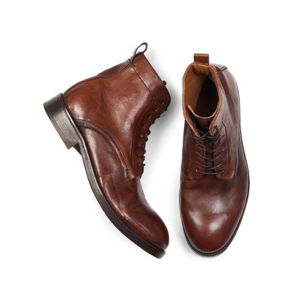 Hudson London Mens Cedar Leather Tan Lace Up Boot Top