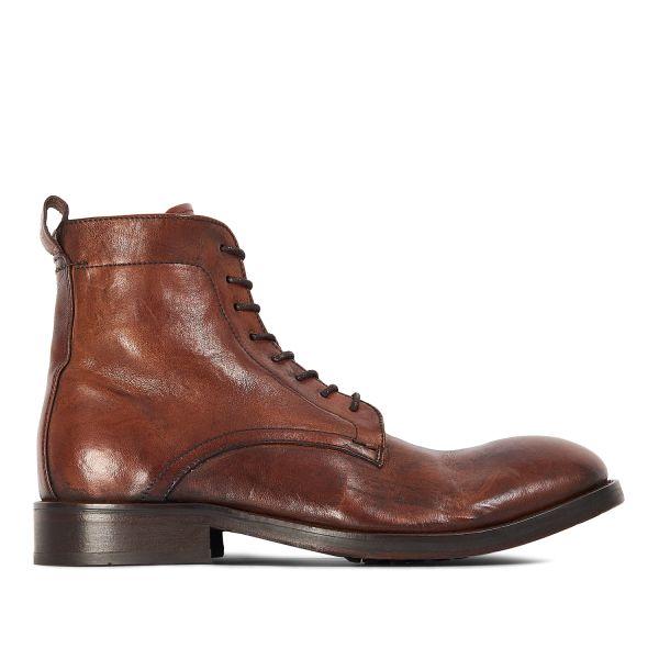 Hudson London Mens Cedar Leather Tan Lace Up Boot Side