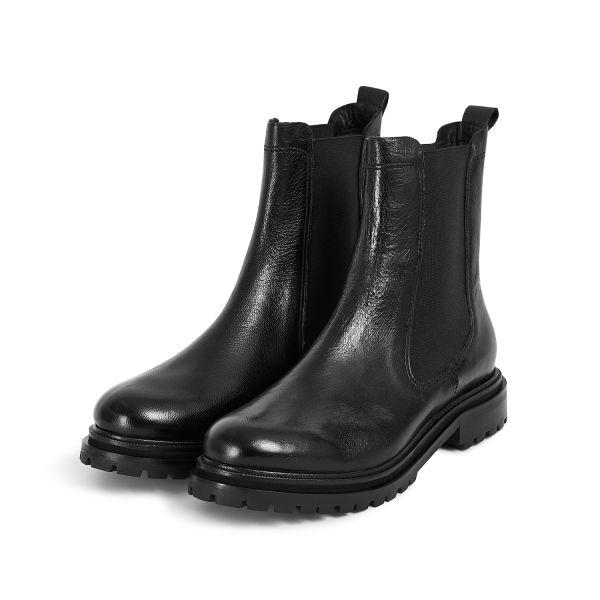 Hudson London Womens Beador Leather Black Chelsea Boot Three Quarter