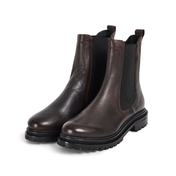 Hudson London Womens Beador Leather Brown Chelsea Boot Three Quarter
