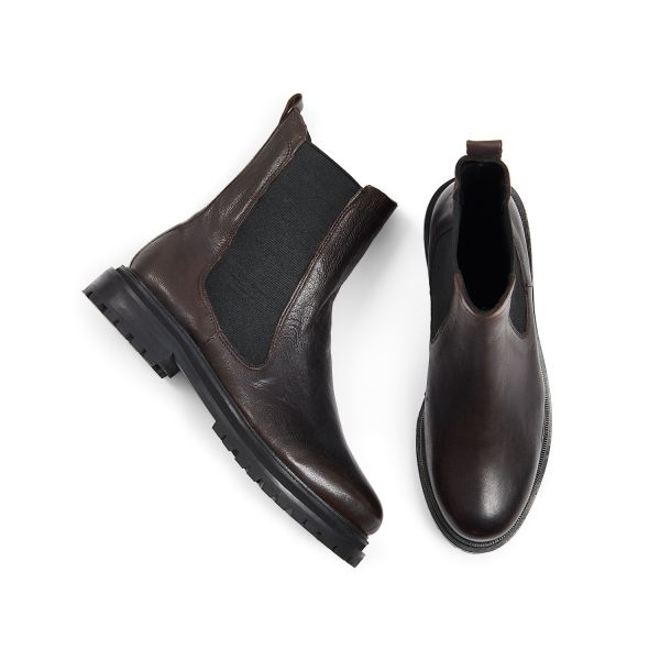 Hudson London Womens Beador Leather Brown Chelsea Boot Top