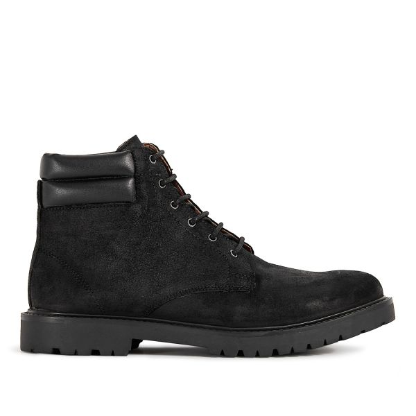 Mens Handel Suede Black Cuff Boot Side
