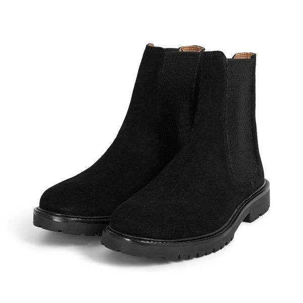 H by Hudson Brahms Suede Black Chelsea Boot Three Quarter