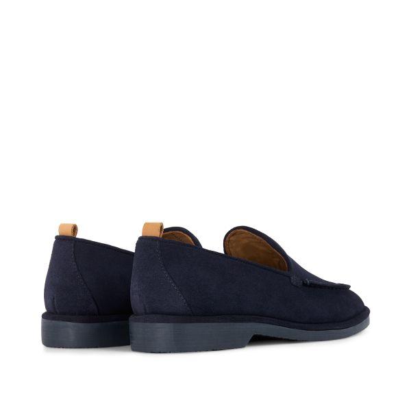 Hudson London Mens Calvi Suede Navy Loafer Detail