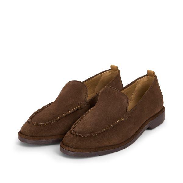 Hudson London Mens Calvi Suede Brown Loafer Three Quarter