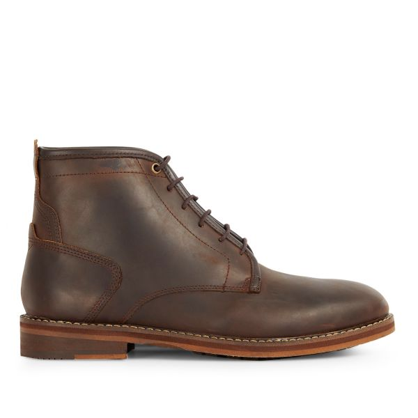Mens Leland Brown Lace Up Boot Side