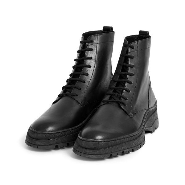 Hudson London Lucas Leather Black Lace Up Boot Three Quarter
