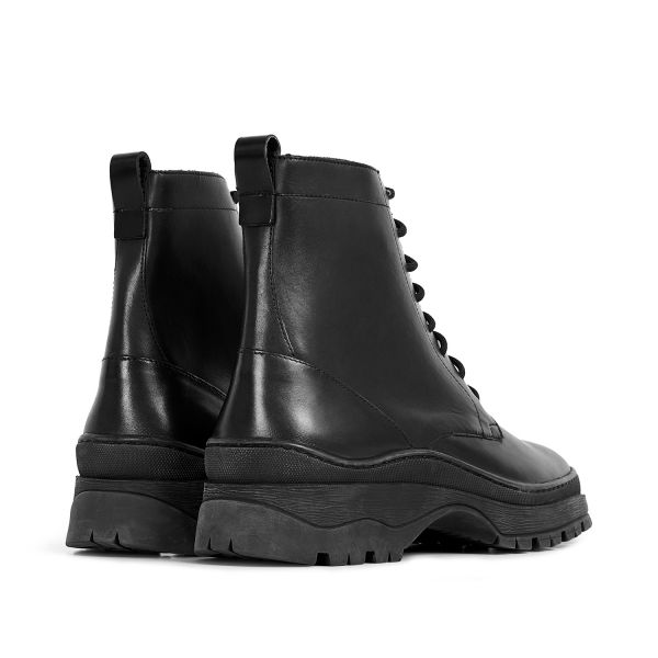 Hudson London Lucas Leather Black Lace Up Boot Detail