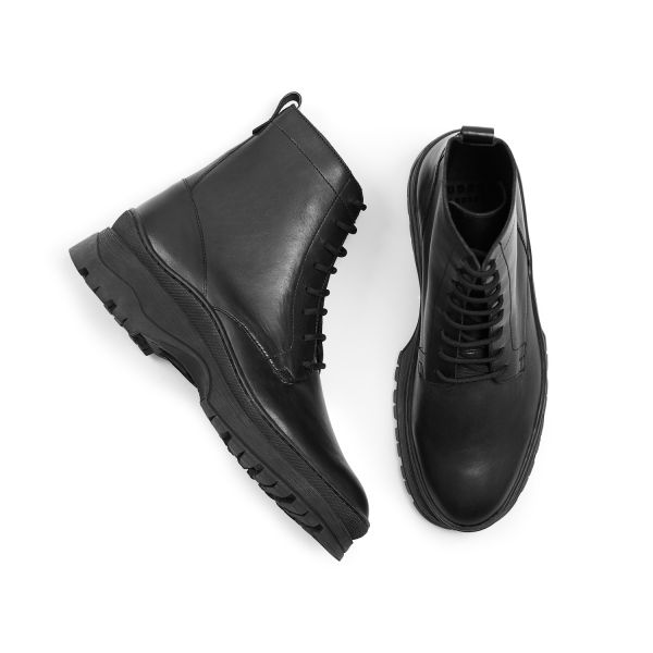 Hudson London Lucas Leather Black Lace Up Boot Top