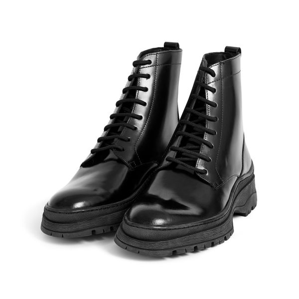 Hudson London Lucas Hi Shine Black Lace Up Boot Three Quarter