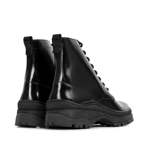 Hudson London Lucas Hi Shine Black Lace Up Boot Detail