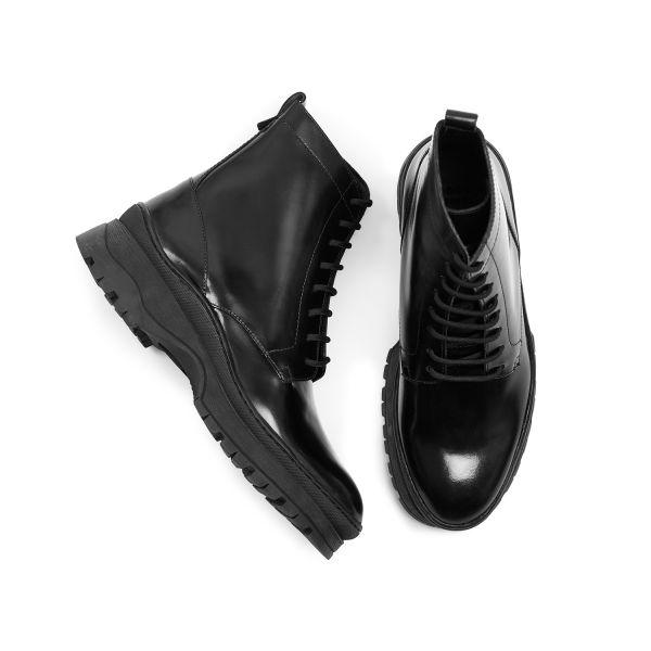 Hudson London Lucas Hi Shine Black Lace Up Boot Top