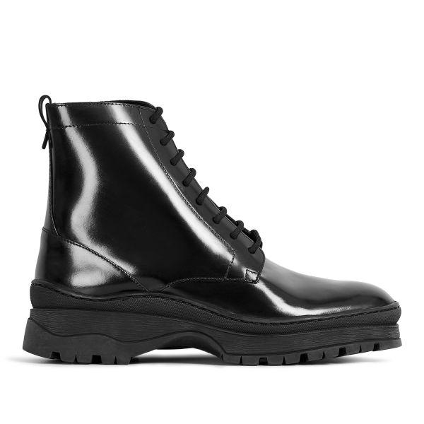Hudson London Lucas Hi Shine Black Lace Up Boot Sole