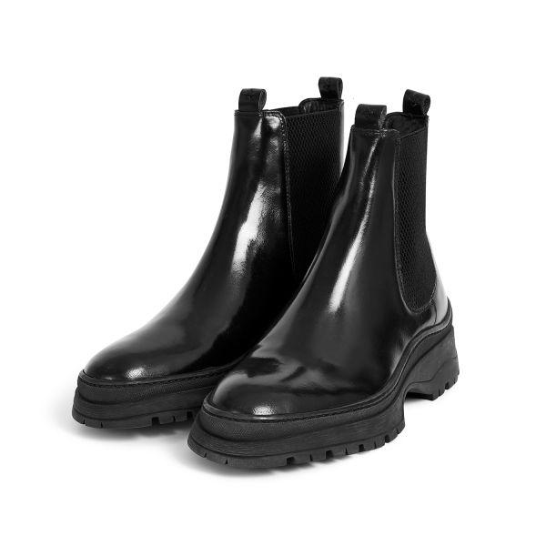 Hudson London Mens Nayim Hi Shine Black Chelsea Boot Three Quarter