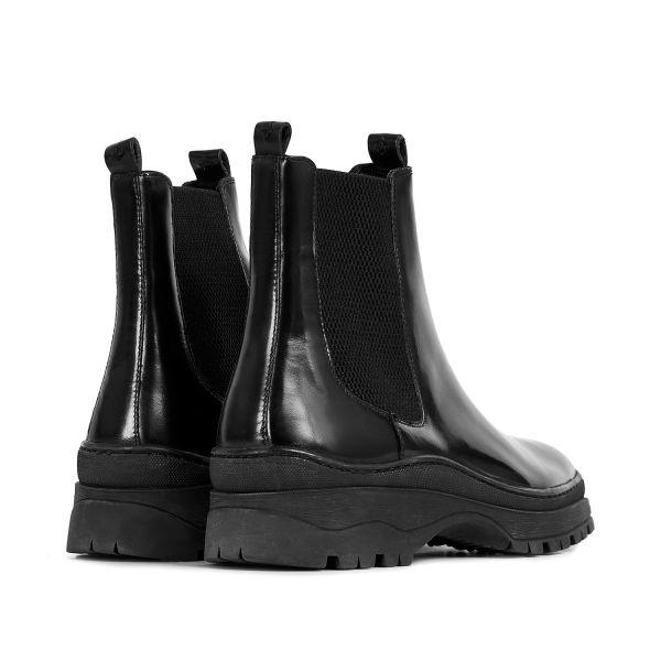 Hudson London Mens Nayim Hi Shine Black Chelsea Boot Detail
