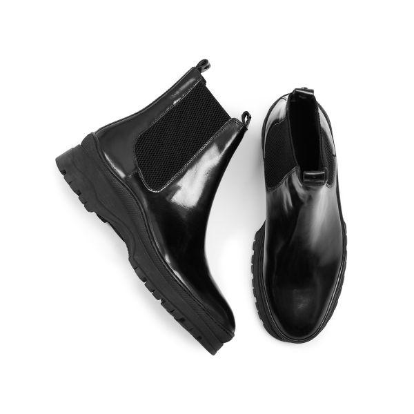 Hudson London Mens Nayim Hi Shine Black Chelsea Boot Top