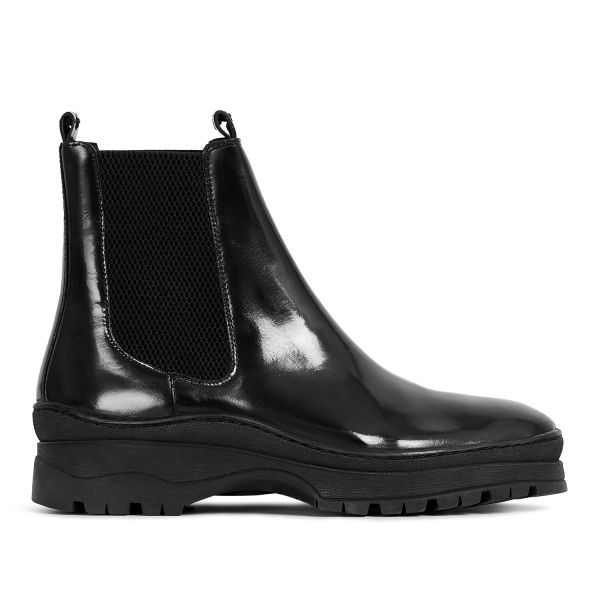 Hudson London Mens Nayim Hi Shine Black Chelsea Boot Side