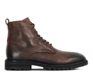 Hudson London Mens Howden Leather Brown Shearling Lace Up Boot Side