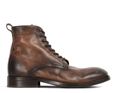 Hudson London Mens Cedar Leather Brown Lace Up Boot Side
