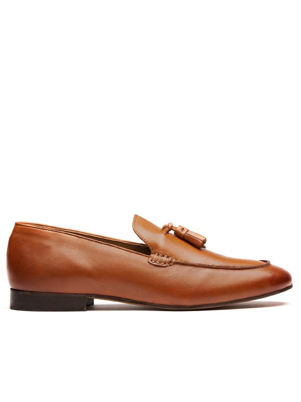 Mens Bolton Tassle Tan Loafer Side