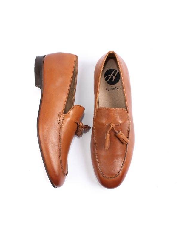 Mens Bolton Tassle Tan Loafer Top