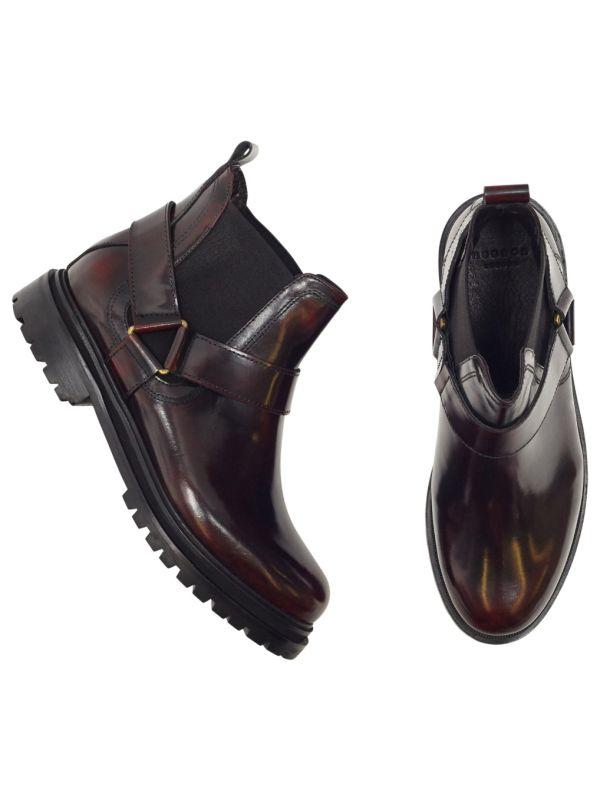 Moss Patent Bordeaux Chelsea Boot Top
