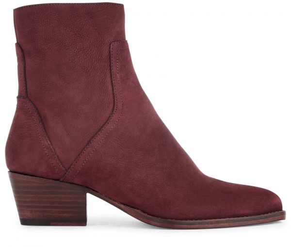 Zip Heeled Boot Beryl Nubuck Bordeaux Side View