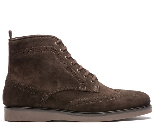 Calverston Suede Brown Brogue Boot