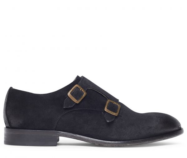 Hagen Suede Black Monk Shoe