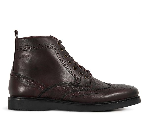 Mens Calverston Brown Brogue Boot Side