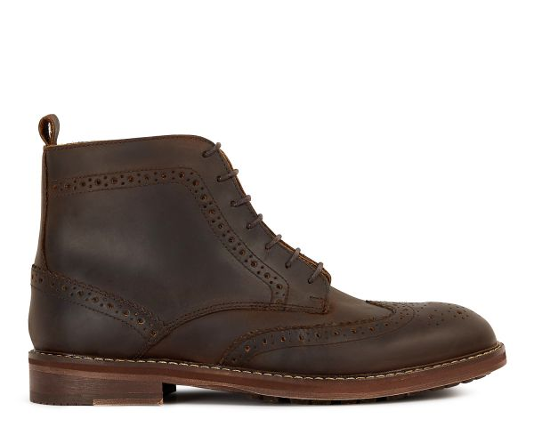 Mens Dayton Brown Brogue Boot Side