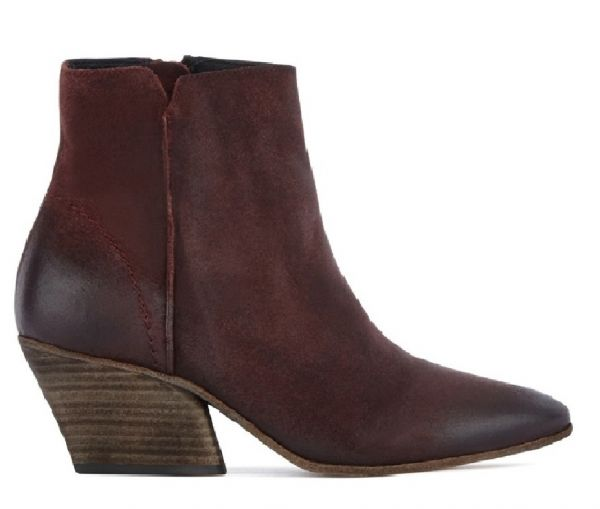 Zip Heeled Boot Mystic Suede Bordeaux Side VIew