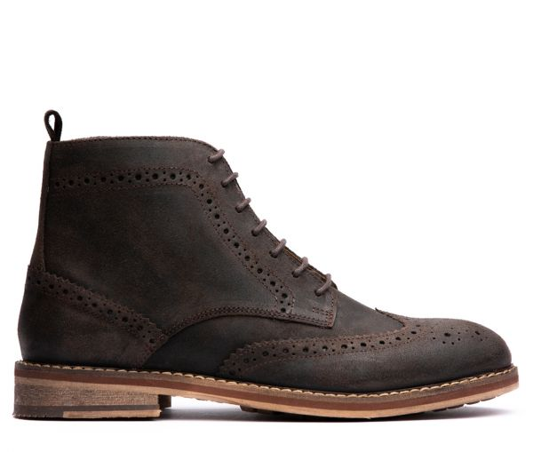 Mens Rowan Suede Brown Brogue Boot Side