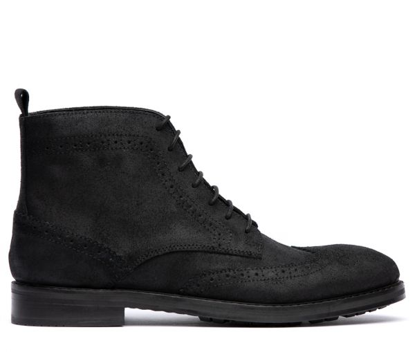Rowan Suede Black Brogue Boot